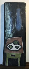 1960's Mid Century MCM  Pottery Italian Hand Painted Table & Fish Plaque No Res.