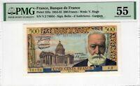 PMG Certified Banknote AU 55 France 1954 500 Francs Pick 133a Victor Hugo