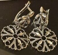 Sterling Silver Russia earrings filigree 925  Russia 5.6g 35mm long