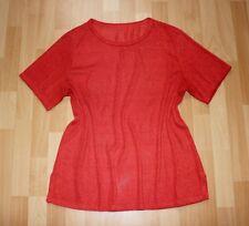 Kurzärmeliger Shirt Tunika 46 48 Strukturiert Orange Bügelfrei Neuwertig