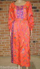 Vtg Orange Floral PLAYSUIT Romper HOTPANTS Shorts JUMPSUIT+Maxi Wrap Skirt XS