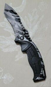 CAMILLUS TITANIUM COMBO TANTO BLADE BLACK&GRAY ALL METAL CAMO POCKET KNIFE-USED