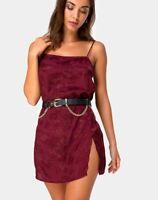MOTEL ROCKS Datista Slip Dress in Satin Rose Burgundy    (mr51)