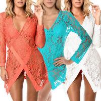 Beautiful Tie up Long Sleeves Lace Bathing Suit Sunmmer Beachwear Cover Up 2127