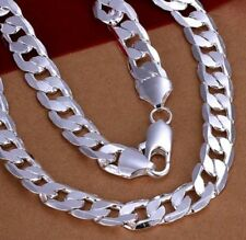 """Mens 925 Silver Plated SS Cuban Curb Chain Necklace 12mm width 20"""" Heavy 80g"""