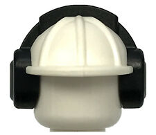 LEGO NEW WHITE MINIFIGURE CONSTRUCTION HAT AND HEADPHONES EAR PROTECTOR PIECE