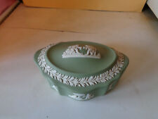 Wedgwood Oval Green Trinket Dish with Lid.