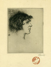 Chadwick Francis Brook-Original Etching original signed Young Faun Portrait 1915