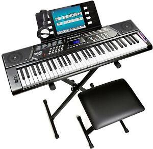 RockJam 61 Key Keyboard Piano With Pitch Bend Kit, Keyboard Stand, Piano Bench,