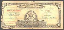 U.S. $100 Postal Savings Certificate, series of 1917, W. Virginia, 1940