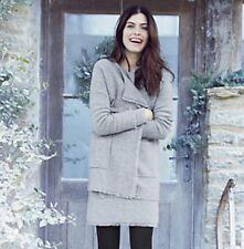THE WHITE COMPANY Grey Fringe Trim Knitted Dress, UK 12, BNWT £110