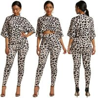 Women's Party Ladies Sexy Leopard Two-piece Jumpsuits Rompers Printing Dress