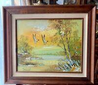 """Vintage Orig Oil Painting on Canvas Signed  Framed Landscape 27"""" x 23"""" (20""""x16"""")"""