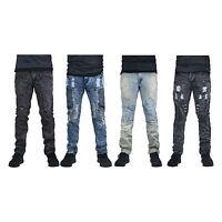 MENS JEANS DENIM ZIPPER Designed SLIM Fit Biker Distressed PANTS ripped jeans