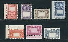 LIBERIA 1952 ASHMUN ANTI-SLAVERY (Sc 333-37, C68-9 VAR) centers ommitted VF NH