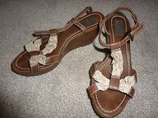 ZARA women brown wedge heels sandals, bottillons Straps. size 7, 41