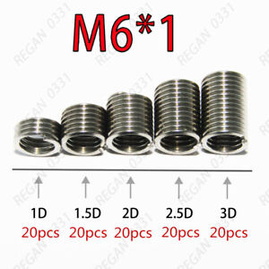 100pcs M6x1.0 Stainless Steel Helicoil Thread Inserts Assortments Metric Coarse