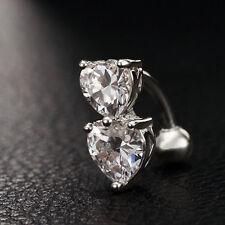 Rhinestone Crystal Heart Barbells Navel Belly Bar Button Ring Body Piercing
