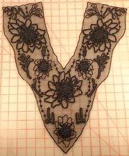 "Large beaded applique black beaded large flowers design 16"" x 19"" bodice evening"
