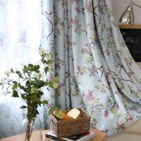 "Flower Bird Print Beige Sheer Curtains Blue Blackout Cloth Window Drapes 63/84"""
