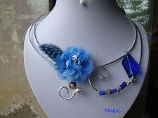 Collier bleu roi, fleur organza, perle cristal, mariage, fait main, unique