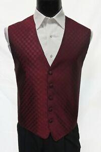 Mens Medium Burgundy Wine Fusion Checkered Patterned Fullback Vest Formal Med