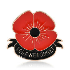 Women Enamel Remembrance Brooch Red Poppy Flower Lapel Pin Broach Badge Banquet