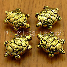 BD2492A Nepalese Handmade Repousse Plain Brass Turtle Focal 4 Beads Tibet Nepal