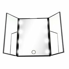 Makeup Tri-sided Foldable Square Shape Portable Lighted LED Beauty Vanity Mirror