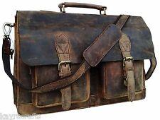 "Men's 15"" Retro Buffalo Leather Laptop Messenger Bag Office Briefcase Bag"