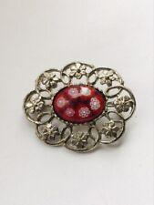 Brooch Silver Tone Glass Jewellery Flowers