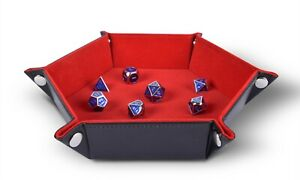 Folding Hexagon Dice Tray PU Leather and Red Velvet by RNK Gaming