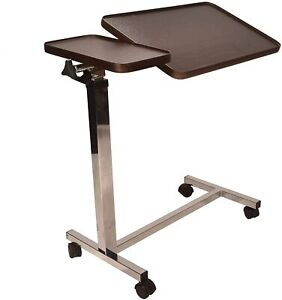 Deluxe Over Bed Table Adjustable Height & Angle Tilt Raise with just 1 Finger