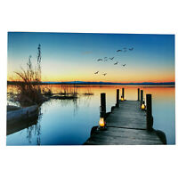 1 LED Light Up HD Sunset Jetty Sea Scene Wall Home Decor Canvas Picture Gift Art