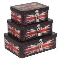 Set of Three Union Jack Tins - Rustic Metal Storage Boxes - Set of 3
