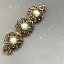 Antique Chinese gold gilt silver filigree floral  Jade jadeite Pin Brooch