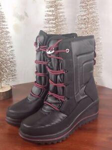 Khombu - Waterproof Lace-Up Wedge Winter Boots - Whitecap - Black