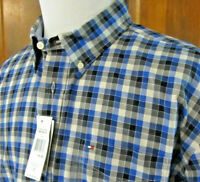 NEW Tommy HILFIGER Mens XL Blue Gray Black CHECKED Plaid L/S Button Front SHIRT