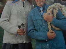 "Knitting Pattern Children Boys Girls Cardigan Chunky 32-36"" Vintage"