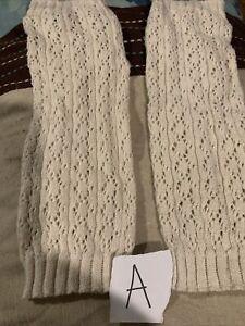 Gap Kids One Size White Cream Crochet Knit Leg Warmers CUTE