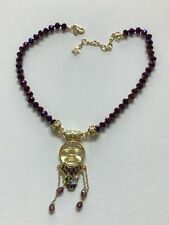 KIRKS FOLLY NO PLACE LIKE HOME PURPLE BEADED YELLOW MOON NECKLACE NEW