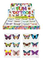 BUTTERFLY KIDS TEMPORARY TATTOOS Assorted Designs Party Bag Filler Loot Girls UK