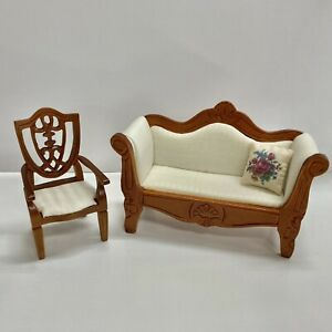 Reutter Porcelain Miniature Dollhouse White Sofa Couch AND White Chair 1:12
