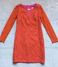Trina Turk Dress, Size 4, Orange w/ Lace Overlay, Long Sleeves Mini, Pink Inside