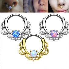 Women Septum Clicker Nose Piercing Daith Hanger Ring Titanium Tribal Bead Party