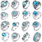 White&Blue Topaz 18KT White Gold Plated Gemstone women Wedding Band Ring Jewelry