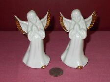 Pair Porcelain ANGEL BELL FIGURINE Praying Metallic Gold Trim Set of Two *