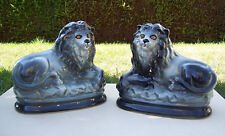 A Pair of Unusual 19th C Grey Staffordshire Lions - Mantle/Pot/Wally Dogs