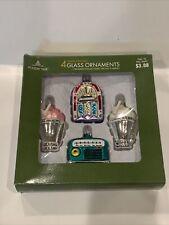 Glass Christmas Ornaments 50's Diner Ice cream Soda Shop Jukebox Radio 4 Pc Set