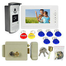 "7"" Video Door Phone Intercom Entry Doorbell System Monitor Camera+Electric Lock"
